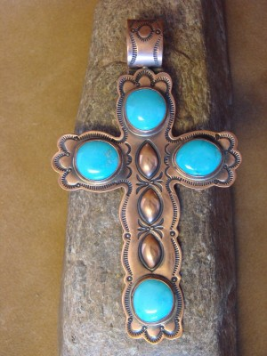 Navajo Indian Jewelry Copper & Turquoise Pendant - VB Virgil Begay -