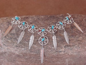 Navajo Indian Sterling Silver Turquoise Dreamcatcher Necklace by Arviso Jr.
