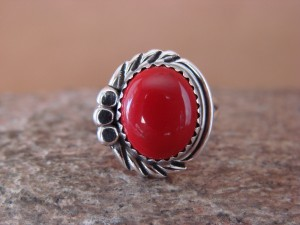 Navajo Indian Jewelry Sterling Silver Coral Ring Size 7.5 by Cadman