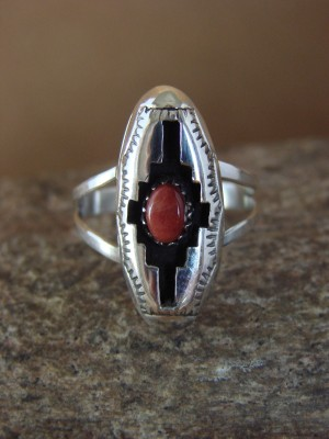 Navajo Indian Jewelry Spiny Oyster Shadow Box Ring by Felix Perry! Size 7 1/2
