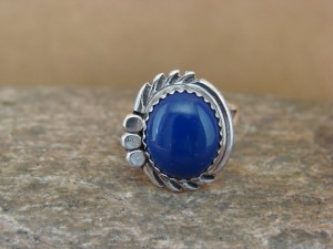 Navajo Indian Jewelry Sterling Silver Lapis Ring Size 6 by Cadman