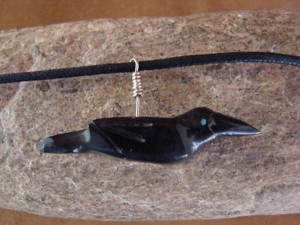 Hand Carved Black Jet Raven Fetish Necklace by Matt Mitchell!