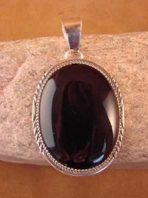 Navajo Indian Jewelry Sterling Silver Onyx Pendant! Handmade! BB0058