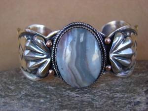 Native American Jewelry Brass & Agate Cuff Bracelet by Albert Cleveland! Navajo