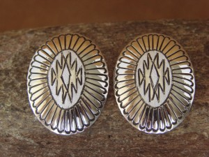 Native American Indian Jewelry Sterling Silver Concho Post Earrings! Handmade