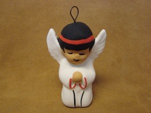 Native American Hand Painted Angel Christmas Ornament by Chino