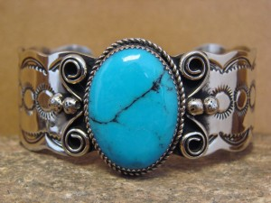Native American Jewelry Nickel Silver Turquoise Bracelet by Albert Cleveland!