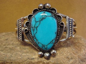 Native American Jewelry Nickel Silver Turquoise Bracelet by Gene Nez