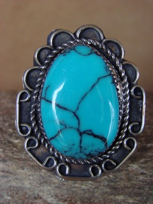 Navajo Indian Jewelry Nickel Silver Turquoise Ring Size 9 - Glen Nez