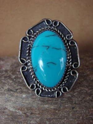 Navajo Indian Jewelry Nickel Silver Turquoise Ring Size 7, Glen Nez