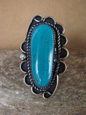 Navajo Indian Jewelry Nickel Silver Turquoise Ring Size 9.5, Glen Nez
