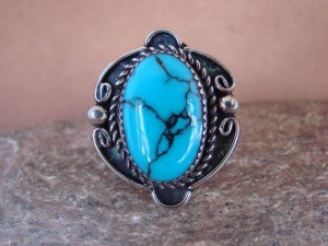 Navajo Indian Jewelry Nickel Silver Blue Turquoise Ring Size 10, Glen Nez