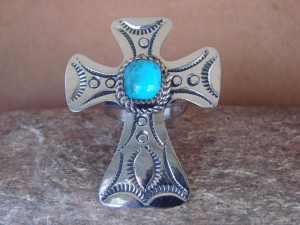 Navajo Indian Jewelry Nickel Silver Turquoise Cross Ring Size 10, Jackie Cleveland