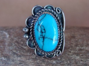 Navajo Indian Jewelry Nickel Silver Turquoise Ring Size 10 - Glen Nez
