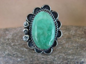 Navajo Indian Jewelry Nickel Silver Turquoise Ring Size 11 1/2 Albert Cleveland