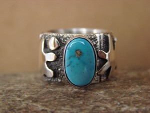 Navajo Indian Sterling Silver Petroglyph Turquoise Ring by Alex Sanchez Size 6