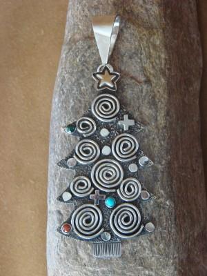Navajo Sterling Silver Petroglyph Christmas Tree Pendant Pin by Alex Sanchez