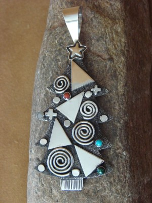 Navajo Sterling Silver Petroglyph Christmas Tree Pendant Pin by Alex Sanchez