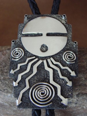Native American Indian Jewelry Sterling Silver Sunface Bolo Tie by Alex Sanchez