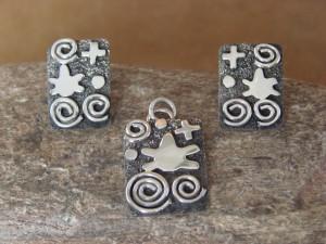 Navajo Indian Sterling Petroglyph Pendant & Earring Set - Alex Sanchez