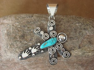 Native American Sterling Silver Turquoise Dragonfly Pendant by Alex Sanchez!