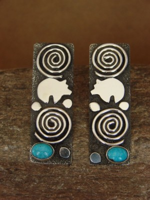 Native American Sterling Silver Turquoise Petroglyph Earrings by Alex Sanchez!