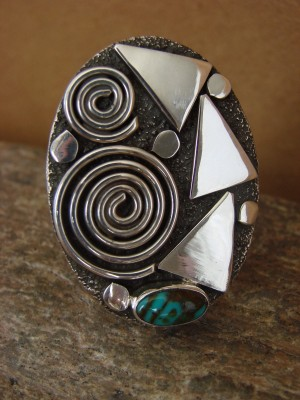Native American Jewelry Sterling Silver Turquoise Ring by Alex Sanchez Size 11