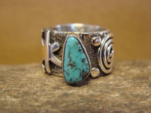 Native American Jewelry Sterling Silver Turquoise Ring by Alex Sanchez Size 6