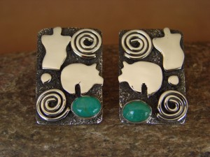 Navajo Indian Sterling Silver Turquoise Petroglyph Earrings by Alex Sanchez!