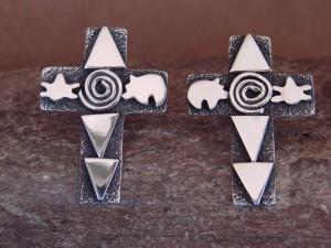 Navajo Indian Sterling Silver Cross Petroglyph Earrings Alex Sanchez!