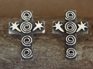 Navajo Indian Sterling Silver Cross Petroglyph Earrings Alex Sanchez!