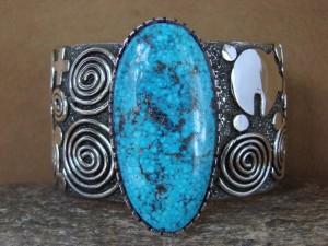 SWAIA Navajo Indian Sterling Silver Turquoise Petroglyph Bracelet Alex Sanchez