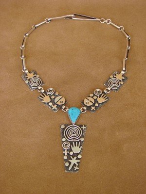 Native American Sterling Silver Turquoise Petroglyph Necklace by Alex Sanchez