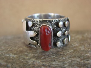 Native American Jewelry Sterling Silver Coral Ring by Alex Sanchez Size 8