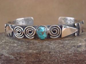 "Navajo Indian Sterling Silver Turquoise 3/8"" Petroglyph Bracelet by Alex Sanchez!"