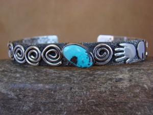 Large Navajo Indian Sterling Silver Turquoise Petroglyph Bracelet Alex Sanchez!