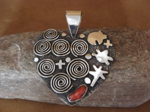 Large Navajo Indian Sterling Silver Coral Petroglyph Heart Pendant Alex Sanchez!