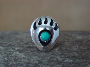 Navajo Indian Jewelry Sterling Silver Turquoise Bear Paw Tie Tack Pin