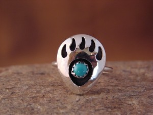 Navajo Indian Sterling Silver Turquoise Bear Paw Ring! Size 7 1/2!