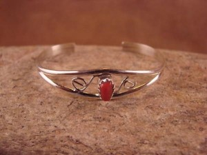 Navajo Indian Sterling Silver Coral Baby Bracelet by Judy Lincoln