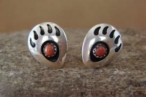 Navajo Indian Sterling Silver Coral Bear Paw Post Earrings! U0074