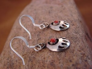 Navajo Indian Jewelry Sterling Silver Coral Bear Paw Dangle Earrings!