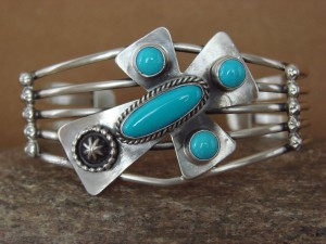 Navajo Indian Jewelry Sterling Silver Turquoise Cross Bracelet by Running Bear