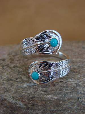 Navajo Indian Jewelry Sterling Silver Feather & Turquoise Adjustable Ring!