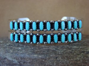 Zuni Indian Jewelry Sterling Silver Turquoise Cluster Bracelet by V. Martza