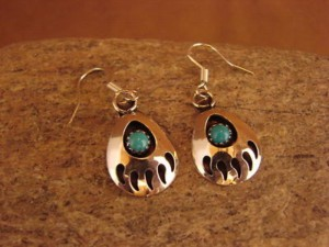 Navajo Indian Jewelry Sterling Silver Turquoise Bear Paw Dangle Earrings!