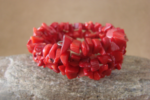 Navajo Indian Jewelry Handmade Red Howlite Coral Coil Bracelet!