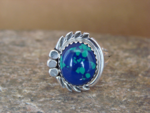 Navajo Indian Jewelry Sterling Silver Azurite Ring Size 7 by Cadman