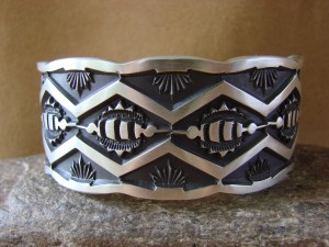 Native American Jewelry Hand Stamped Sterling Silver Bracelet Jerrold Tahe