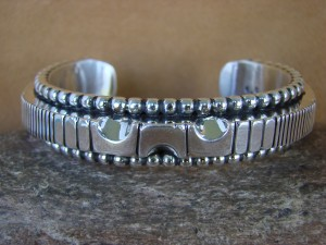 Native American Jewelry Hand Stamped Sterling Silver Bracelet Jonathan Nez